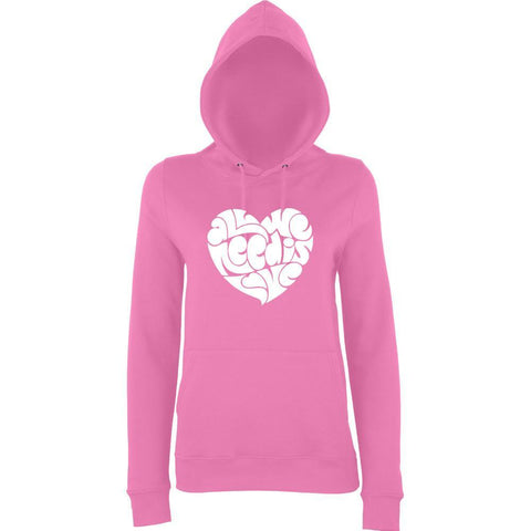 All We Need Is Love Women Hoodies White-AWD-Daataadirect.co.uk