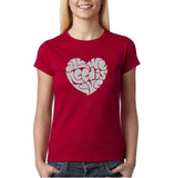 "All We Need Is Love Women T Shirts Silver Glitter-T Shirts-Gildan-Antique Cherry-M UK 12 Euro 36 Bust 34""-Daataadirect"