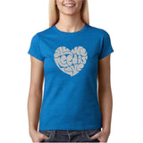 "All We Need Is Love Women T Shirts Silver Glitter-T Shirts-Gildan-Antique Sapphire-S UK 10 Euro 34 Bust 32""-Daataadirect"