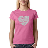 "All We Need Is Love Women T Shirts Silver Glitter-T Shirts-Gildan-Azalea-S UK 10 Euro 34 Bust 32""-Daataadirect"