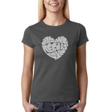 "All We Need Is Love Women T Shirts Silver Glitter-T Shirts-Gildan-Charcoal-S UK 10 Euro 34 Bust 32""-Daataadirect"