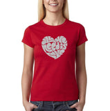 "All We Need Is Love Women T Shirts Silver Glitter-T Shirts-Gildan-Cherry Red-S UK 10 Euro 34 Bust 32""-Daataadirect"