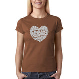 "All We Need Is Love Women T Shirts Silver Glitter-T Shirts-Gildan-Chestnut-S UK 10 Euro 34 Bust 32""-Daataadirect"