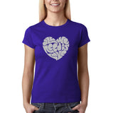 "All We Need Is Love Women T Shirts Silver Glitter-T Shirts-Gildan-Cobalt-S UK 10 Euro 34 Bust 32""-Daataadirect"