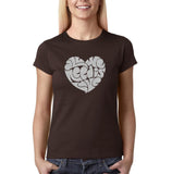 "All We Need Is Love Women T Shirts Silver Glitter-T Shirts-Gildan-Dk Chocolate-S UK 10 Euro 34 Bust 32""-Daataadirect"