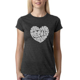 "All We Need Is Love Women T Shirts Silver Glitter-T Shirts-Gildan-Dk Heather-S UK 10 Euro 34 Bust 32""-Daataadirect"