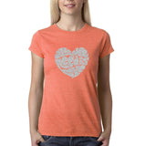 "All We Need Is Love Women T Shirts Silver Glitter-T Shirts-Gildan-Heather Orange-S UK 10 Euro 34 Bust 32""-Daataadirect"