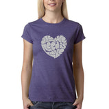 "All We Need Is Love Women T Shirts Silver Glitter-T Shirts-Gildan-Heather Purple-S UK 10 Euro 34 Bust 32""-Daataadirect"