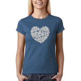 "All We Need Is Love Women T Shirts Silver Glitter-T Shirts-Gildan-Indigo Blue-S UK 10 Euro 34 Bust 32""-Daataadirect"