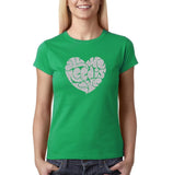 "All We Need Is Love Women T Shirts Silver Glitter-T Shirts-Gildan-Irish Green-S UK 10 Euro 34 Bust 32""-Daataadirect"