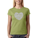 "All We Need Is Love Women T Shirts Silver Glitter-T Shirts-Gildan-Kiwi-S UK 10 Euro 34 Bust 32""-Daataadirect"