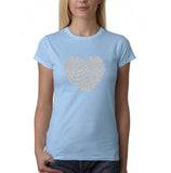 "All We Need Is Love Women T Shirts Silver Glitter-T Shirts-Gildan-Light Blue-S UK 10 Euro 34 Bust 32""-Daataadirect"