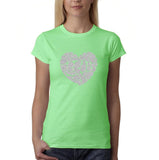 "All We Need Is Love Women T Shirts Silver Glitter-T Shirts-Gildan-Mint Green-S UK 10 Euro 34 Bust 32""-Daataadirect"