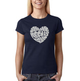 "All We Need Is Love Women T Shirts Silver Glitter-T Shirts-Gildan-Navy Blue-S UK 10 Euro 34 Bust 32""-Daataadirect"