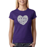 "All We Need Is Love Women T Shirts Silver Glitter-T Shirts-Gildan-Purple-S UK 10 Euro 34 Bust 32""-Daataadirect"