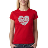 "All We Need Is Love Women T Shirts Silver Glitter-T Shirts-Gildan-Red-S UK 10 Euro 34 Bust 32""-Daataadirect"