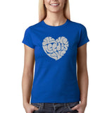 "All We Need Is Love Women T Shirts Silver Glitter-T Shirts-Gildan-Royal Blue-S UK 10 Euro 34 Bust 32""-Daataadirect"