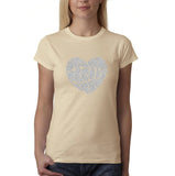 "All We Need Is Love Women T Shirts Silver Glitter-T Shirts-Gildan-Sand-S UK 10 Euro 34 Bust 32""-Daataadirect"
