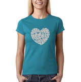 "All We Need Is Love Women T Shirts Silver Glitter-T Shirts-Gildan-Sapphire-S UK 10 Euro 34 Bust 32""-Daataadirect"