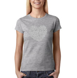 "All We Need Is Love Women T Shirts Silver Glitter-T Shirts-Gildan-Sport Grey-S UK 10 Euro 34 Bust 32""-Daataadirect"