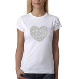 "All We Need Is Love Women T Shirts Silver Glitter-T Shirts-Gildan-White-S UK 10 Euro 34 Bust 32""-Daataadirect"