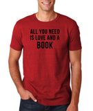 "[daataadirect.co.uk]-All you need is love and a book Black Mens T Shirt-T Shirts-Gildan-Antique Cherry-S To Fit Chest 36-38"" (91-96cm)-Daataadirect"