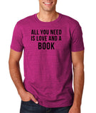 "[daataadirect.co.uk]-All you need is love and a book Black Mens T Shirt-T Shirts-Gildan-Antique Heliconia-S To Fit Chest 36-38"" (91-96cm)-Daataadirect"