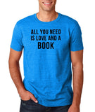 "[daataadirect.co.uk]-All you need is love and a book Black Mens T Shirt-T Shirts-Gildan-Antique Sapphire-S To Fit Chest 36-38"" (91-96cm)-Daataadirect"