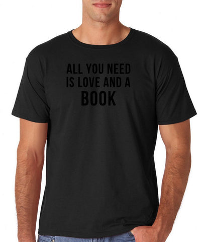 "[daataadirect.co.uk]-All you need is love and a book Black Mens T Shirt-T Shirts-Gildan-Black-S To Fit Chest 36-38"" (91-96cm)-Daataadirect"