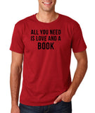 "[daataadirect.co.uk]-All you need is love and a book Black Mens T Shirt-T Shirts-Gildan-Cardinal-S To Fit Chest 36-38"" (91-96cm)-Daataadirect"