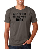 "[daataadirect.co.uk]-All you need is love and a book Black Mens T Shirt-T Shirts-Gildan-Charcoal-S To Fit Chest 36-38"" (91-96cm)-Daataadirect"