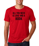 "[daataadirect.co.uk]-All you need is love and a book Black Mens T Shirt-T Shirts-Gildan-Cherry Red-S To Fit Chest 36-38"" (91-96cm)-Daataadirect"