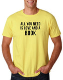 "[daataadirect.co.uk]-All you need is love and a book Black Mens T Shirt-T Shirts-Gildan-Corn Silk-S To Fit Chest 36-38"" (91-96cm)-Daataadirect"