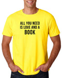 "[daataadirect.co.uk]-All you need is love and a book Black Mens T Shirt-T Shirts-Gildan-Daisy-S To Fit Chest 36-38"" (91-96cm)-Daataadirect"