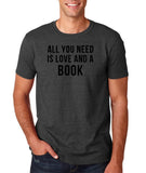 "[daataadirect.co.uk]-All you need is love and a book Black Mens T Shirt-T Shirts-Gildan-Dk Heather-S To Fit Chest 36-38"" (91-96cm)-Daataadirect"