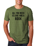 "[daataadirect.co.uk]-All you need is love and a book Black Mens T Shirt-T Shirts-Gildan-Heather Military Green-S To Fit Chest 36-38"" (91-96cm)-Daataadirect"