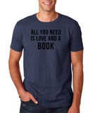"[daataadirect.co.uk]-All you need is love and a book Black Mens T Shirt-T Shirts-Gildan-Heather Navy-S To Fit Chest 36-38"" (91-96cm)-Daataadirect"
