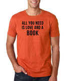 "[daataadirect.co.uk]-All you need is love and a book Black Mens T Shirt-T Shirts-Gildan-Heather Orange-S To Fit Chest 36-38"" (91-96cm)-Daataadirect"
