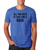 "[daataadirect.co.uk]-All you need is love and a book Black Mens T Shirt-T Shirts-Gildan-Heather Royal-S To Fit Chest 36-38"" (91-96cm)-Daataadirect"