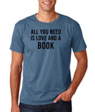 "[daataadirect.co.uk]-All you need is love and a book Black Mens T Shirt-T Shirts-Gildan-Indigo Blue-S To Fit Chest 36-38"" (91-96cm)-Daataadirect"