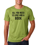 "[daataadirect.co.uk]-All you need is love and a book Black Mens T Shirt-T Shirts-Gildan-Kiwi-S To Fit Chest 36-38"" (91-96cm)-Daataadirect"