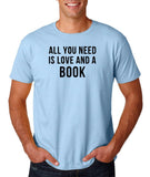 "[daataadirect.co.uk]-All you need is love and a book Black Mens T Shirt-T Shirts-Gildan-Light Blue-S To Fit Chest 36-38"" (91-96cm)-Daataadirect"