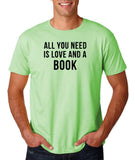 "[daataadirect.co.uk]-All you need is love and a book Black Mens T Shirt-T Shirts-Gildan-Mint Green-S To Fit Chest 36-38"" (91-96cm)-Daataadirect"