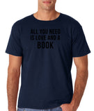 "[daataadirect.co.uk]-All you need is love and a book Black Mens T Shirt-T Shirts-Gildan-Navy-S To Fit Chest 36-38"" (91-96cm)-Daataadirect"