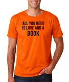 "[daataadirect.co.uk]-All you need is love and a book Black Mens T Shirt-T Shirts-Gildan-Orange-S To Fit Chest 36-38"" (91-96cm)-Daataadirect"