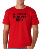 "[daataadirect.co.uk]-All you need is love and a book Black Mens T Shirt-T Shirts-Gildan-Red-S To Fit Chest 36-38"" (91-96cm)-Daataadirect"
