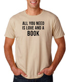 "[daataadirect.co.uk]-All you need is love and a book Black Mens T Shirt-T Shirts-Gildan-Sand-S To Fit Chest 36-38"" (91-96cm)-Daataadirect"