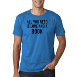 "[daataadirect.co.uk]-All you need is love and a book Black Mens T Shirt-T Shirts-Gildan-Sapphire-S To Fit Chest 36-38"" (91-96cm)-Daataadirect"