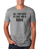 "[daataadirect.co.uk]-All you need is love and a book Black Mens T Shirt-T Shirts-Gildan-Sport Grey-S To Fit Chest 36-38"" (91-96cm)-Daataadirect"