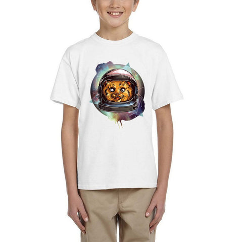 Astronaut Cosmic Kitty spaceship Kids T Shirts-Gildan-Daataadirect.co.uk